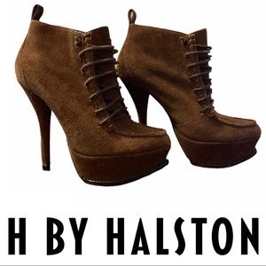 H by Halston Kate Suede Platform Stiletto Booties